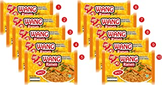 Wang Ramen Korean Style Spicy Instant Noodles, (80 g x Pack of 10 )