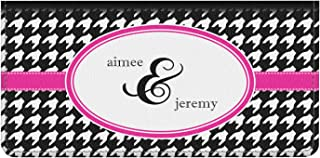 Houndstooth w/Pink Accent Genuine Leather Checkbook Cover (Personalized)