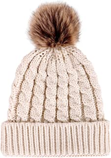 Winter Hand Knit Beanie Hat with Faux Fur Pompom