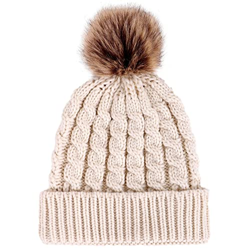 ceab6144c82 Livingston Women s Winter Soft Knitted Beanie Hat with Faux Fur Pom Pom