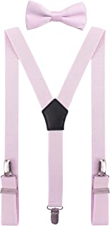 YJDS Men's Boys' Leather Suspenders and Bowtie Set Y Shape