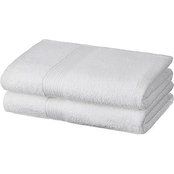 Amazon Brand - Solimo 100% Cotton 2 Piece Bath Towel Set, 500 GSM (White)