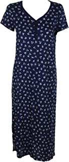 Printed Cotton Knit v-Neck Nightgown. Ditsy Flowers. Navy. XSmall.