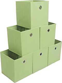 Amborido Storage Cubes Foldable Drawers Office Toys Room Organizer Cubby Clothes Fabric Kids Bins 6 Pack (Green)