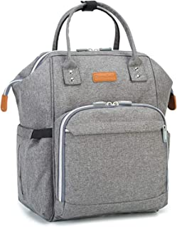 Diaper Bag Backpack Travel Back Pack Large Capacity Multifunction Changing Bag Nappy Bag Waterproof and Gray