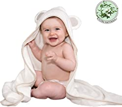 Oversized Organic Hooded Baby Bath Towel & Washcloths Set ︳Girl or Boy/Newborn-Toddler ︳Thick and Soft 600GSM Bamboo/Egyptian Cotton Premium Natural White Bathroom Set ︳Great for Sensitive Skin