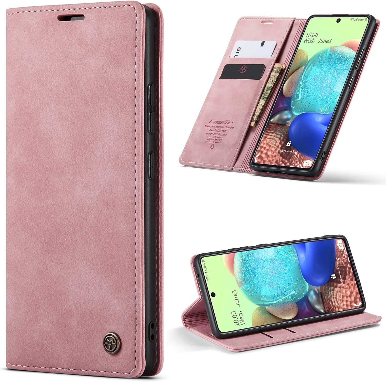 HAII Moto E 2020 Case, Flip Fold Leather Wallet Case with Credit Card Slot and Kickstand Magnetic Closure Protective Cover for Motorola Moto E 2020 (Pink)