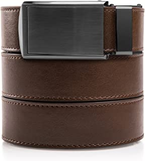 """Slidebelts Men's Animal-Friendly Leather Belt Without Holes - Gunmetal Buckle/Mocha Brown Leather (Trim-to-fit: Up to 48"""" Waist)"""