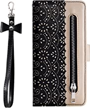 ZCDAYE Zipper Wallet Case for Galaxy S8 Plus, Fabulous Glossy Pattern Magnetic Closure PU Leather [Bowknot Lanyard][Kickstand][Card Slots] Soft TPU Book Case Cover for Samsung Galaxy S8 Plus-Black