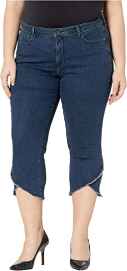 Plus Size Capris w/ Crisscross Fray in Firesky