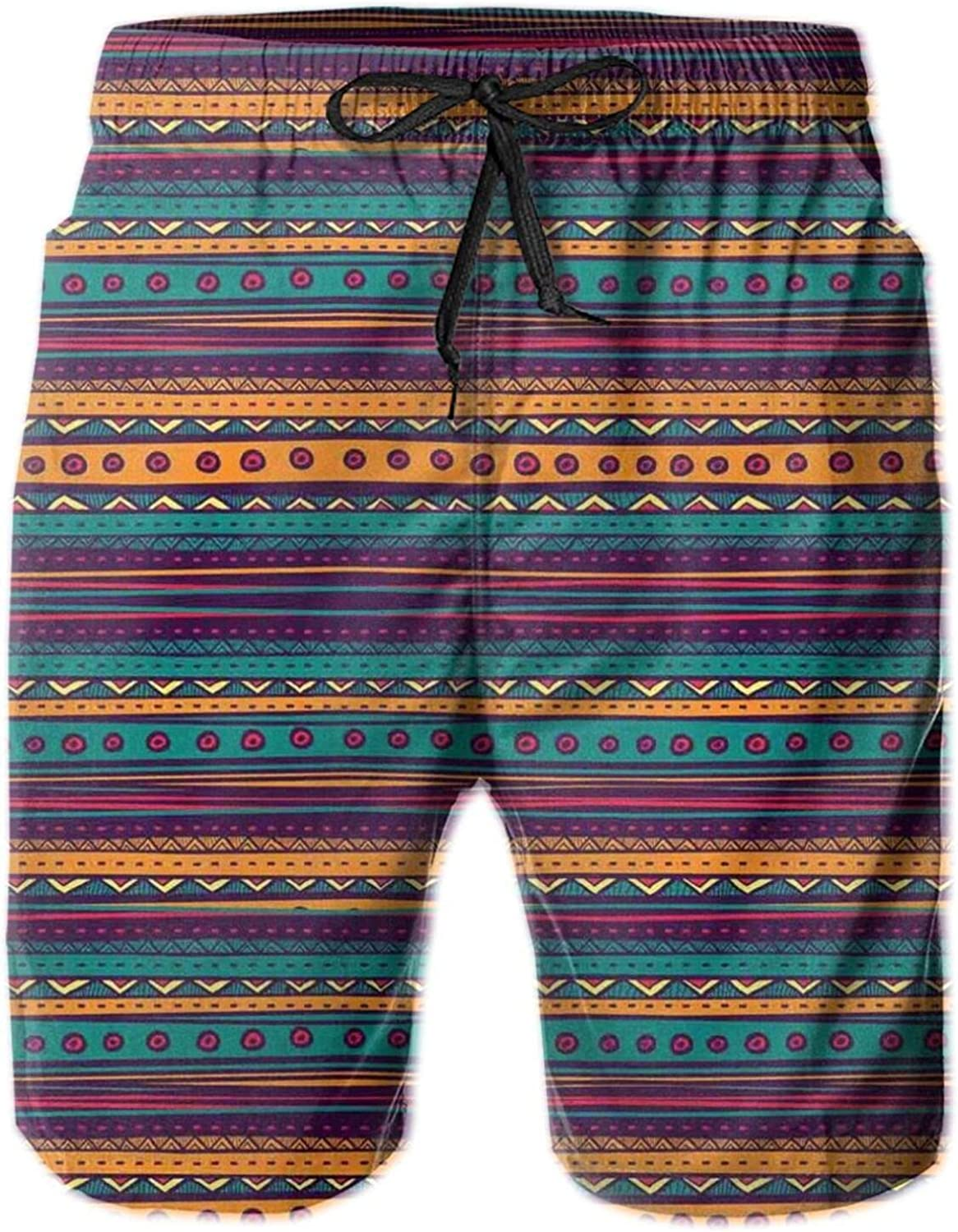 Striped Retro Aztec Pattern with Rich Mexican Ethnic Color Folkloric Print Swimming Trunks for Men Beach Shorts Casual Style,XL