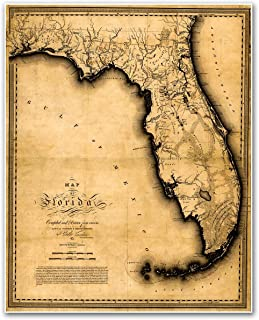 Antiguos Maps - Florida Map by Charles Vignoles Circa 1823 - Measures 24 in x 30 in (610 mm x 762 mm)