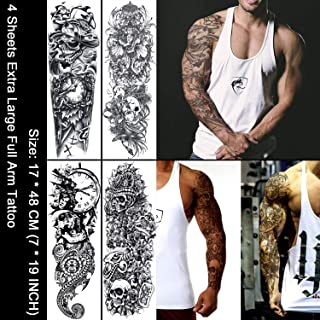 Oottati 4 Sheets Full Arm Extra large Fake Sleeves Removeable Temporary Tattoo Stickers Body Art Halloween Cross Skull Ghost Mechanical Arm Mask Goddness Snake Indian Totem Trible Rose For Adults