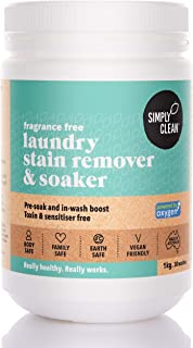 Simply Clean Fragrance Free Laundry Stain Remover and Soaker 1 kg, 1 kilograms