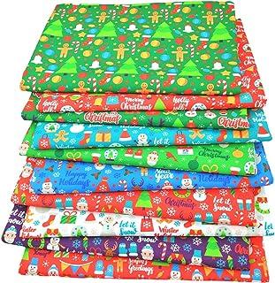 Tinello Tecido de algodão de Natal, Papai Noel, quadrados, costura, patchwork, vermelho, verde, puro algodão estampado par...