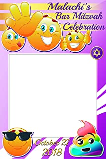 Custom Emoji Bat Mitzvah Photo Booth frame Prop - sizes 36x24, 48x36; Personalized Emoji photo booth frame, Bar Mitzvah, Happy Bat Mitzvah Photo props, Handmade Party Supply Photo Booth Frame