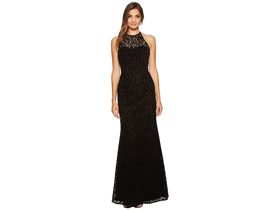 Nicole Miller Flocked Velvet Laser Cut Halter Gown (Black) Women