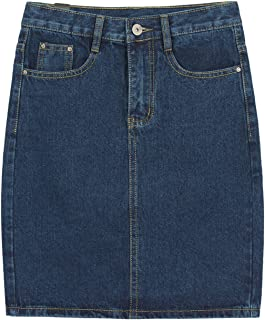Women's Basic Five-Pocket Rugged Wear Denim Skirt with Slit