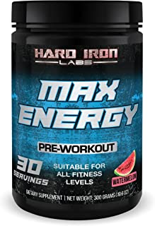 Pre Workout Powder with Beta-Alanine & Caffeine 10000mg - Ripped Thermogenic Energy Fat Burners for Men & Women, Weight Loss & Performance - Max Energy by Hard Iron Labs - Watermelon, 30 Servings