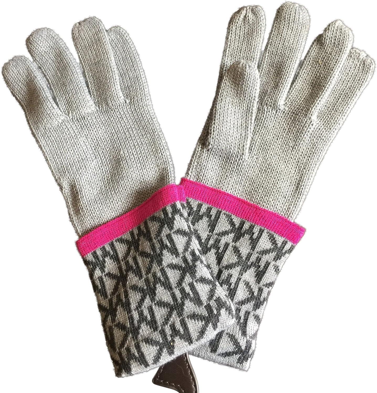 Michael Kors Womens Gloves MK Logo Knit Cuffed Gloves Light Grey