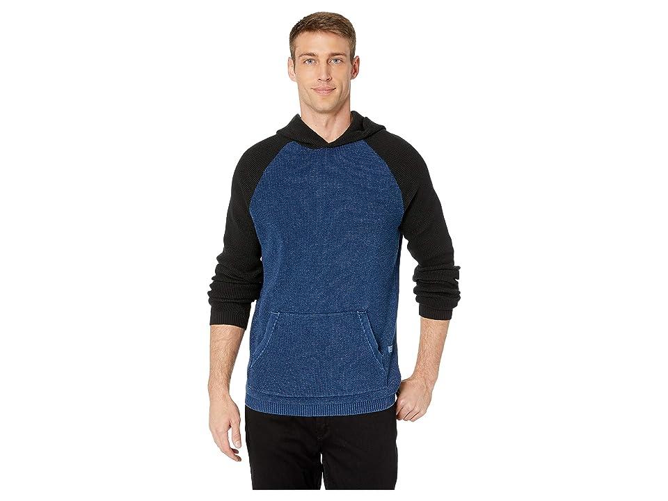 Lucky Brand Color Block Thermal Hoodie Sweater (Indigo/Black/Indigo) Men