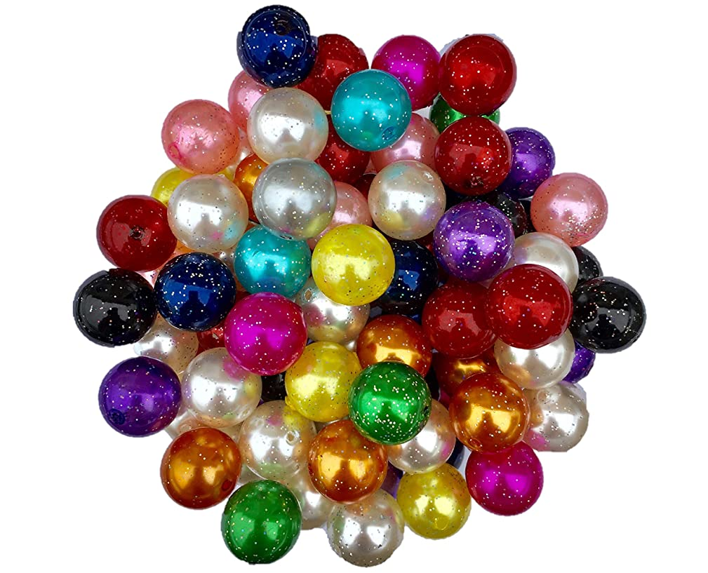 20mm Glitter Pearls (Faux) Beads 50 Count Mixed Pack Chunky Bubble Gum Beads