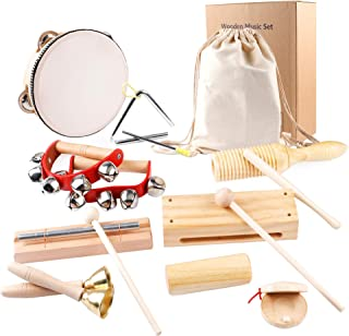 Jetika Musical Instrument Set for Toddlers & Kids, Natural Wooden Music Set for Children, Eco-Friendly Preschool Educational Wooden Percussion Instruments Toy with Storage Bag for Babies Boys Girls