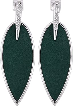 Inlaid Leather Front Statement Earrings