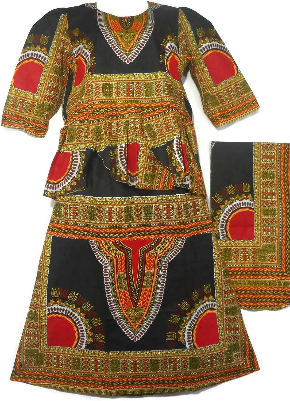 Decoraapparel African Girls Wax Dashiki Skirt Suit Women Maxi Apparel Outfit Suit