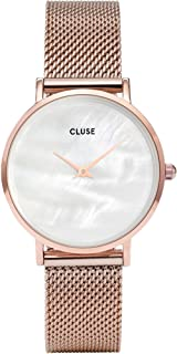 CLUSE Minuit La Perle Mesh Rose Gold White Pearl CL30047 Women's Watch 33mm Stainless Steel Strap Minimalistic Design Casual Dress Japanese Quartz Precision