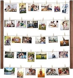 Halvalo 壁掛け 写真立て ディスプレイ インテリア ハンギット フォトディスプレイ フォトフレーム 掛けフォトクリップ ブラウン木製 フレーム ウッドクリップ×30個