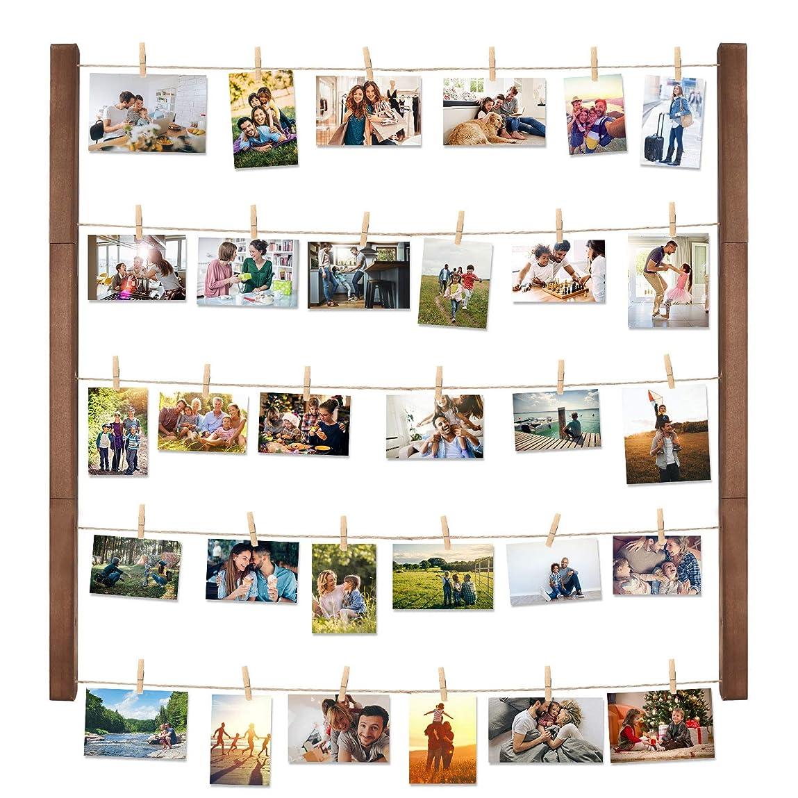 作成するつなぐ最後にHalvalo 壁掛け 写真立て ディスプレイ インテリア ハンギット フォトディスプレイ フォトフレーム 掛けフォトクリップ ブラウン木製 フレーム ウッドクリップ×30個
