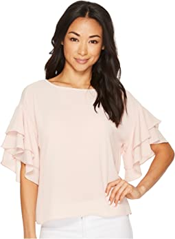 Vince Camuto - Drop Shoulder Tiered Sleeve Textured Blouse