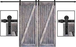 DonYoung 8FT Double Sliding Barn Door Hardware Kit, Heavy Duty Steel Barn Door Track 4PCS I-Shape Hanger with Quiet and Smooth Wheel, Includes All Necessary Accessories, Black