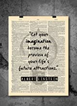 Albert Einstein Future Attractions : Let your imagination become the preview of your life's future attractions - Inspirational Wall Art Vintage Art Print - Home or Office Decor - No Frame