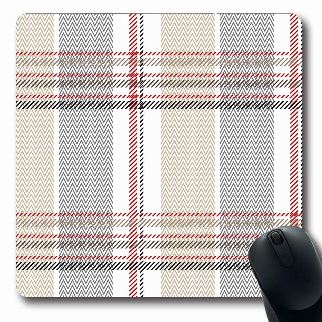 JAMRON Mousepad Oblong 9.8x11.4 Inches Red Black Checkered Plaid Pattern Stripes Zig Zag Irish Beige Folk Grey Abstract Checked Design Non-Slip Rubber Mouse Pad Laptop Notebook