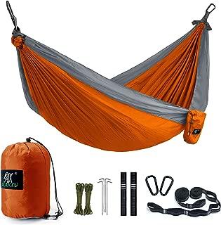 Camping Hammock, LAX Portable Double Durable Hammock Backpacking, Travel, Hiking, Beach, Yard, Multi-Functional Lightweight Nylon Parachute Hammocks Heavy Duty Straps (Purple/Blue)