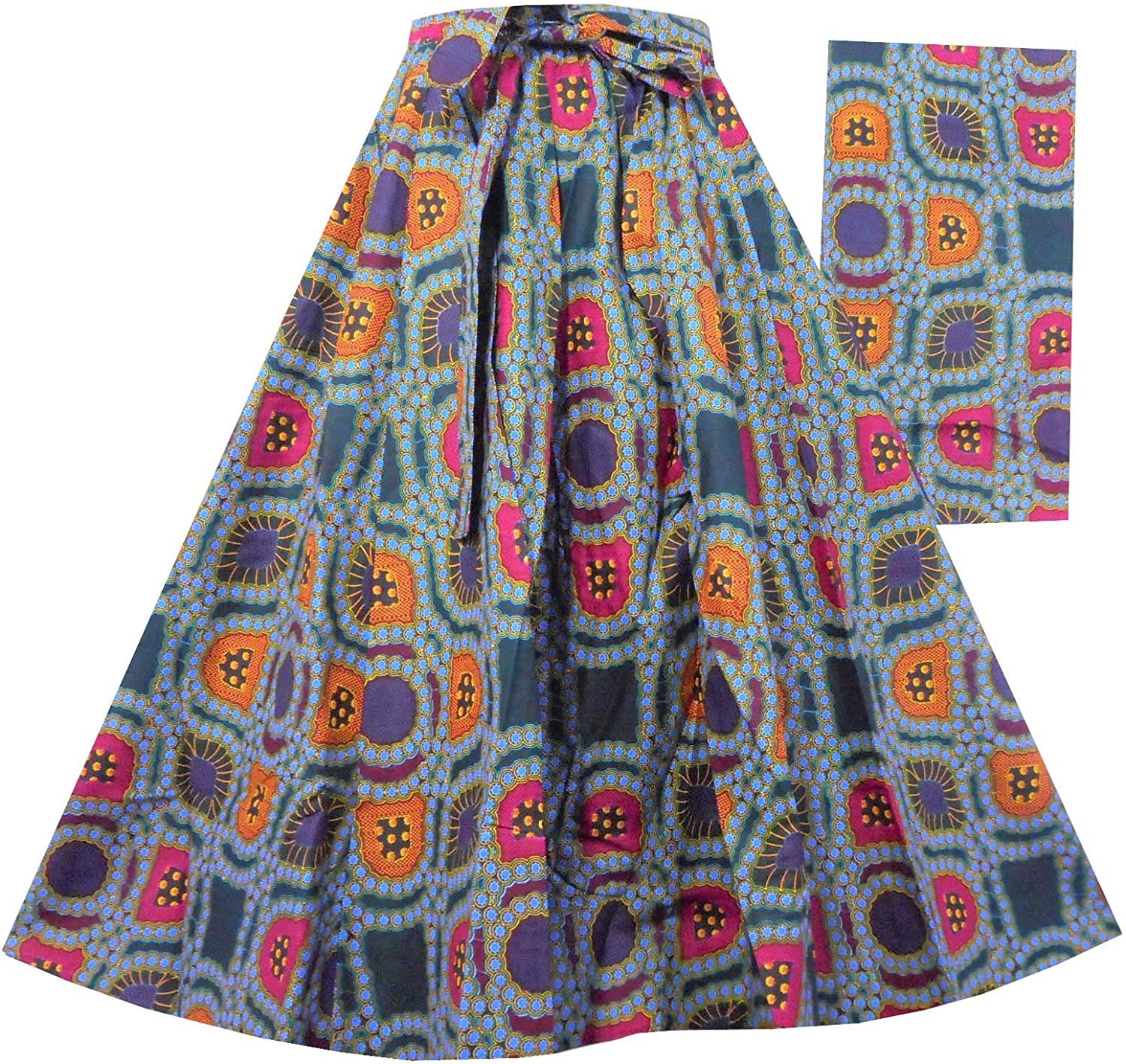 Decoraapparel African Wax Skirts Long Dashiki Maxi Cotton Skirts One Size