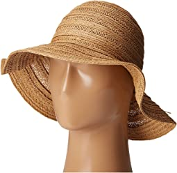 PBL3078 Four Buttons Paper Braid Floppy Hat with Self Knotted Tie