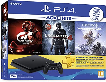 Sony PlayStation 4 500GB Oyun Konsolu, Horizon Zero Down, Gran Turismo Sport, Uncharted 4