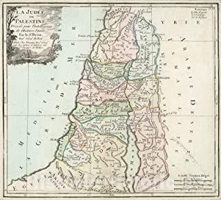 Historic Pictoric Map : La Judee ou Palestine, 1786, Vintage Wall Decor : 49in x 44in