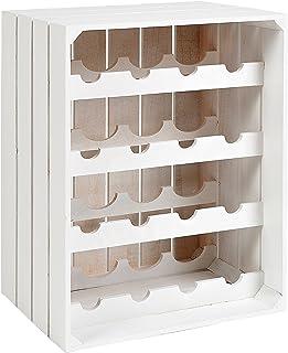 ts-ideen Botellero estante estantería apilable de madera blanca para 16 botellas de vino