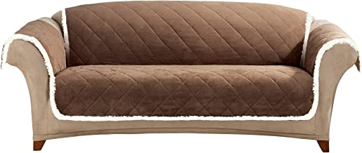 SureFit Soft Suede & Sherpa Throw Sofa, Brown/Cream