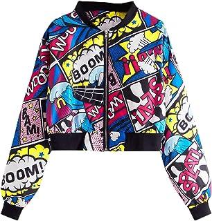 SheIn Women's Fashion Long Sleeve Comic Print Crop Bomber Zipper Jacket