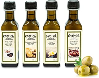 Gourmet Olive Oil Gift Set   Certified Extra Virgin Olive Oil   4-Pack 100ml Each Bottle   100% Natural Flavors including Black Truffle with Garlic, Parmesan and Garlic, Butter, and Smokey Bacon