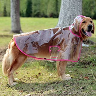 Glanzzeit Dog See-Through Raincoat Cool Rain Jackets Adjustable Poncho for Medium Large Dogs 2XL to 6XL