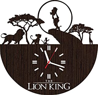 Wooden Wall Clock The Lion King Gifts for Kids Boys Girls Room Decorations Baby Shower Movie Simba Timon and Pumba Party Supplies Bedding Christmas DVD Poster Women Collectibles Vinyl