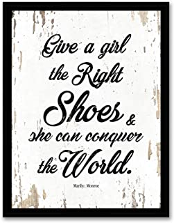 Give A Girl The Right Shoes and She Can Conquer The World - Framed - Quote Canvas Print Home Decor Wall Art, Black Real Wood Frame, White, 14x18