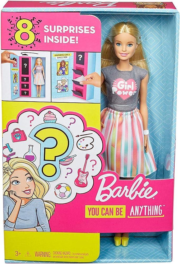 Barbie ,carriere con abiti a sorpresa, bambola bionda con 2 vestiti e accessori da scoprire GFX84