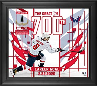 "Alex Ovechkin Washington Capitals Framed 15"" x 17"" 700 Goals Collage with a Piece of Game-Used Puck - Limited Edition of 708 - Fanatics Authentic Certified"